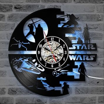 Star Wars Force Episode 1 2 3 4 5 Creative  CD Record Clock Creative HandmadeVinyl Record Wall Clock Antique Hollow Hanging Clock LED with 7 Colors AT_72_6
