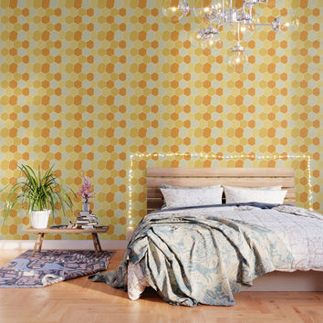 Yellow Honeycomb Wallpaper by spaceandlines