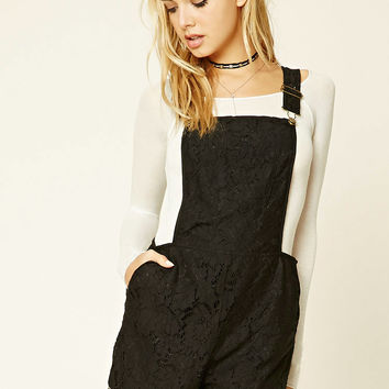 Semi-Sheer Lace Overalls