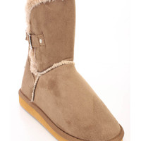 Chestnut Fur Trimmed Ankle Booties Faux Suede