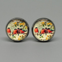 Silver Stud Post Earrings with Four Birds