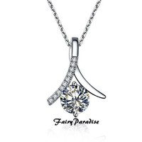 1 Carat Infinity Pendant Necklace for women, 6.5 mm Round Cut Man Made diamond, with 45 cm 925 silver chain, Gift for Girl and Mum