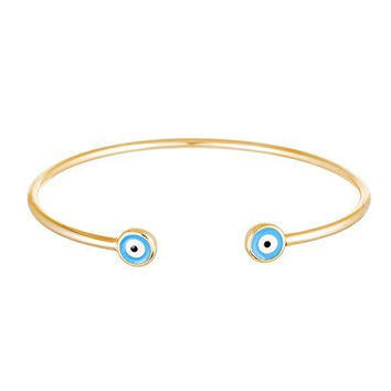 925 Sterling Silver Double Mini Evil Eye Cuff Bracelet (yellow-gold-plated-silver)