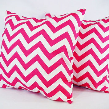 Two Chevron Decorative Pillow Covers Hot Pink by CastawayCoveDecor