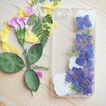 The Blue Violet Lace (handmade pressed flower phone case)