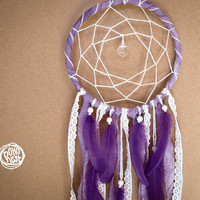 Chrsitmas SALE!! - Dream Catcher - Sweet November - With Sparkling Crystal Prism, Purple Feathers and Floral Laces - Boho Home Decor