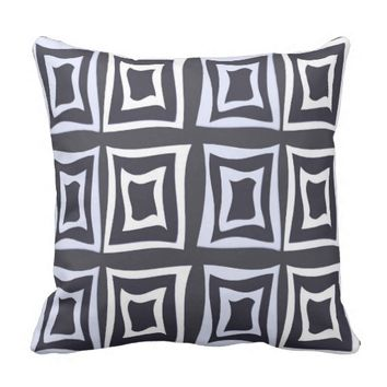 Square Distorted White & Soft Gray Throw Pillow