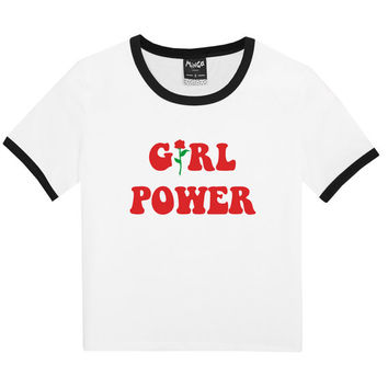 girl power RINGER TEE WOMENS t shirt top tank ladies funny tumblr hipster fashion grunge retro kawaii goth cute vintage harajuku feminist