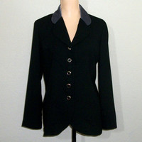 Womens Black Jacket Size 12 Long Black Jacket Black Blazer Gray Velvet Collar Office Clothing FREE SHIPPING Petite Large Womens Clothing