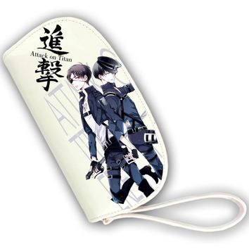 Cool Attack on Titan Japanese Anime  Rivaille Ackerman Levi Cosplay Women Long Wallet Pu Leather Women Kawaii Pink Clutch Coin Purse AT_90_11