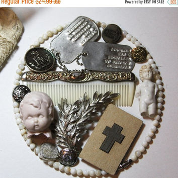 ON SALE Assemblage Lot- Porcelain Dolls- Cross Stamp- Brooch- Costume Jewelry- Dog Tags