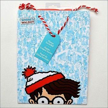 Where's Waldo Any All Occasion Draw String Gift Bag with Tissue Paper 12 x 9""