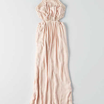 AEO Hi-Neck Side Cutout Maxi Dress, Blush