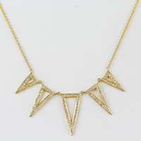 """0.53ct Pavé Diamond in 14K Yellow Gold Hollow Tribal Triangle Spike Charm Necklace - 18"""" - CUSTOM MADE"""