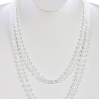 White Iridescent Glass Bead Extra Long Wraparound Necklace