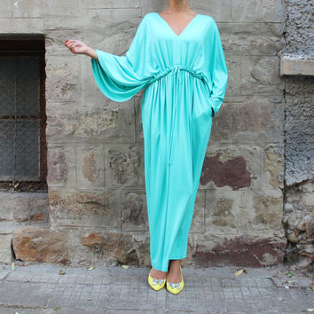 SALE ON 20 % OFF Mint Caftan , Maxi Dress ,Abaya, Kaftan Dress, Loose fitted dress, Plus Size Dress, Beach Dress, Autumn dress