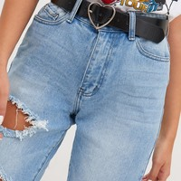Black Heart Buckle Waist Belt