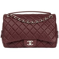 2015 Chanel Aubergine Quilted Calfskin Leather Jumbo Easy Carry Flap Bag