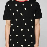 Poolhouse Stars Curved Hem Long Tee- Black Multi