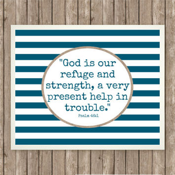 God is Our Refuge Scripture Art, Scripture Printable, Instant Download, Praise and Worship, Bible Verse, Burlap and Navy, Nautical Stripes