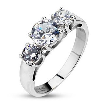 Clear Round CZ Triple Prong Set Ring Stainless Steel