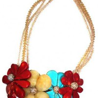 Semi precious Large Flowers Necklace