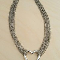 Multi-strand Silvertone Chain Necklace Heart Pendant Necklace