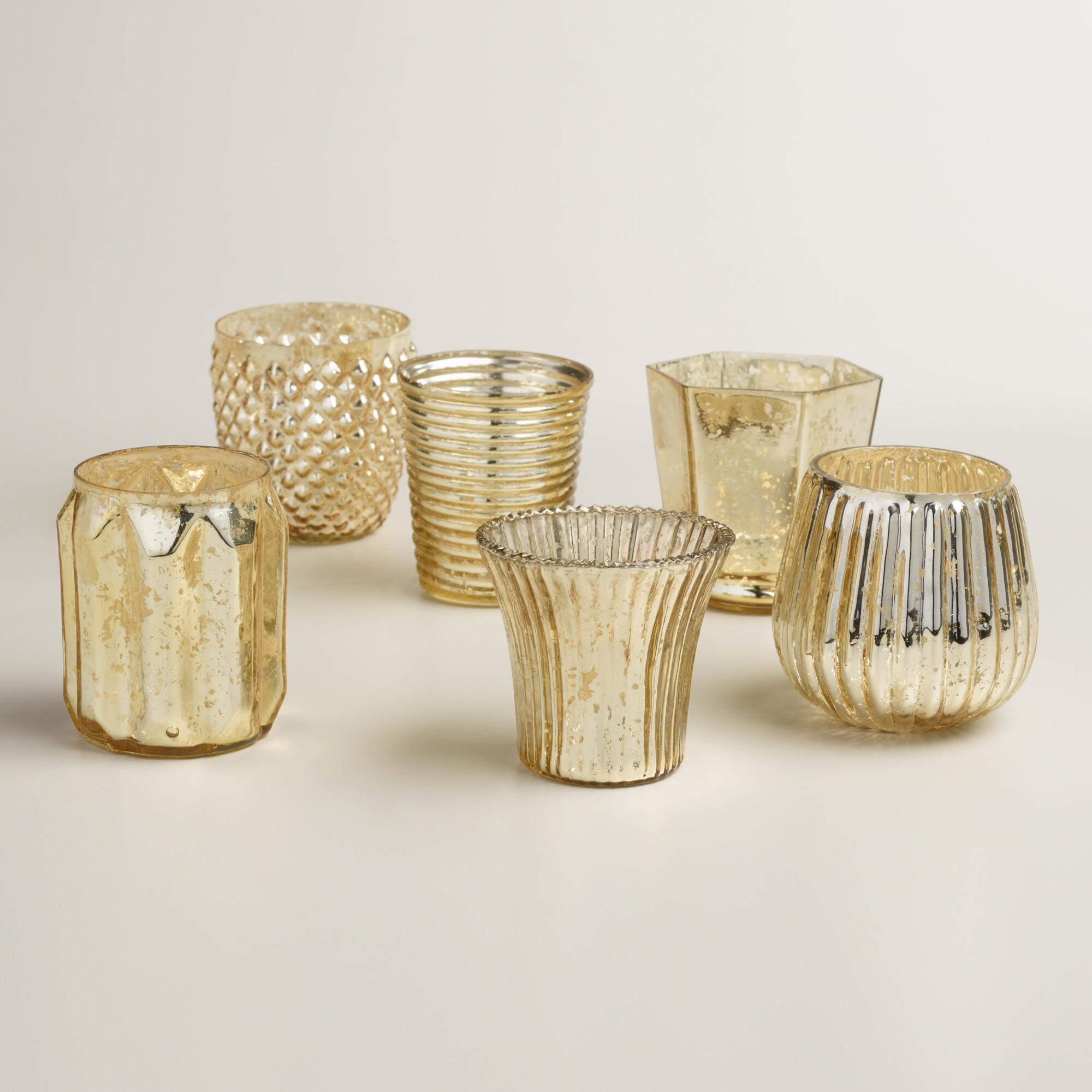 Gold Mercury Glass Votive Candleholders From Cost Plus World