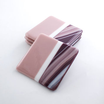 Fused Glass Coasters, Pink and Purple, Modern Design, Home Accents, Tabletop Decor, Drink Coasters, Unique Hostess Gifts, Bar Accessories