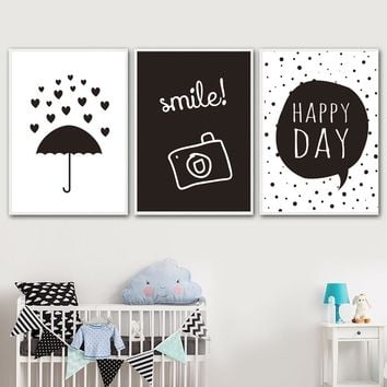 Umbrella Camera Wall Art Print Canvas Painting Nordic Posters And Prints Black White Wall Pictures For Kids Room Bedroom Decor