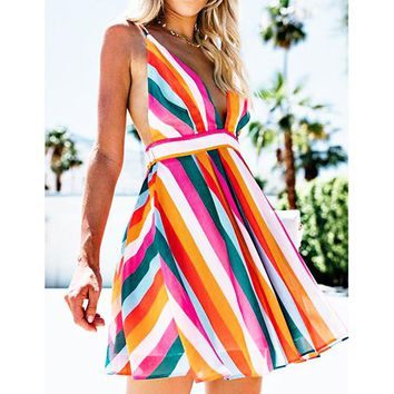 Fashion color stripe off-the-shoulder hot women's sexy backless dress