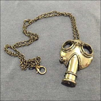 Gas Mask Necklace Doctor Who cyberpunk steampunk dystopian inspired jewelry Strange and unique trinkets for everyday wear Gold
