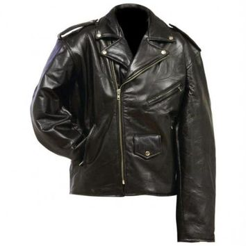 Diamond Plate Rock Design Genuine Leather Motorcycle Jacket- 3x