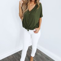 Knot Today Top: Olive