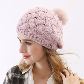 Thick Warm 4 Color White Yellow Pink Red  Ski Womens Fur Pom Wool Knitted Hat