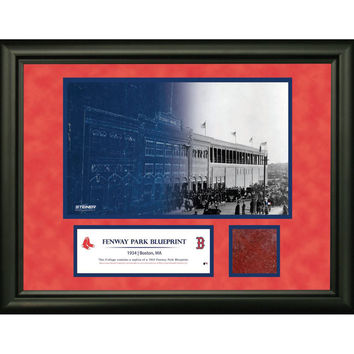 Fenway Park Blue Print Fade with Brick 11X14 Collage