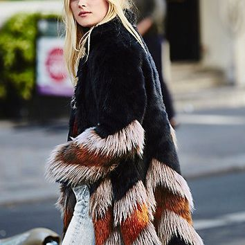 Free People Womens Chevron Fur Coat