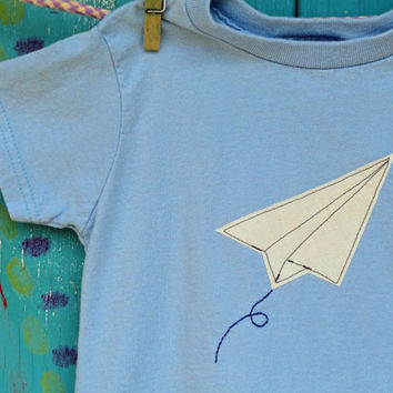 Paper Airplane Tshirt, Appliqued Plane with Embroidery, Short Sleeve Light Blue Shirt, Sizes 2t, 3t, 4t, 5/6, 7, MADE-TO-ORDER
