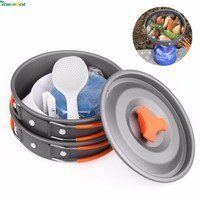 Outdoor Camping Pot and Pan Set Cookware Mess Kit 9 Piece Backpacking Gear And Hiking Cook Set Bowls Spoon With Oxford Bag