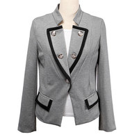 Gray Double Breasted  Long Sleeves Blazer With Flap Pockets