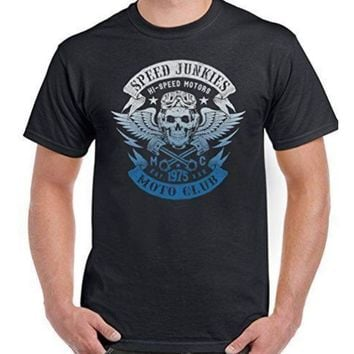 High Speed Mens Biker T-Shirt Motorcycle Motorbike Cool skull