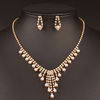 Golden Artificial Pearl Wedding Jewelry Set