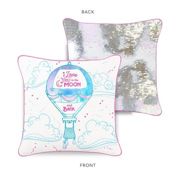 """""""I Love You to the Moon & Back"""" Hot Air Balloon Mermaid Pillow with Iridescent & Silver Reversible Sequins"""