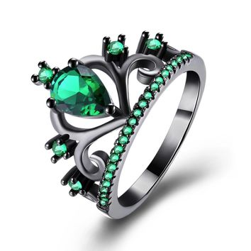 2017 Fashion Women Rings Black Color Red/Purple/Green/Black Zircon Crown Shape Hollow Out Rings For Women Party Gift Jewelry