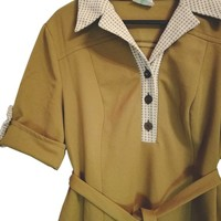 Green Khaki Color Vintage Dress With Belt And Contrast Collar