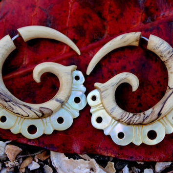 Fake Gauge Earrings - Mother Of Pearl & Gold Shell Fancy Tribal Expanders Hand Carved Organic Fake Piercings
