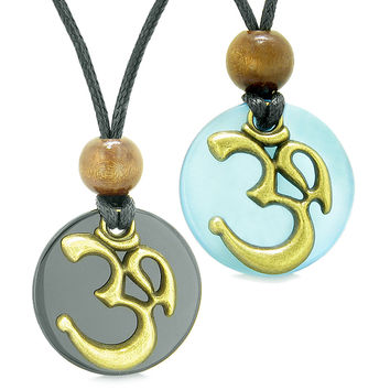 Ancient OM Tibetan Amulets Love Couples Yin Yang Powers Black Agate Sky Blue Simulated Cats Eye Necklaces