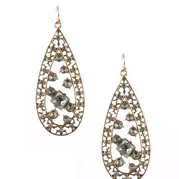 Clear Faceted Lucite Stone Metal Teardrop Earring