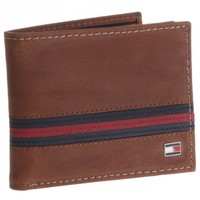 Tommy Hilfiger Saddle Tan Leather Passcase Billfold Wallet
