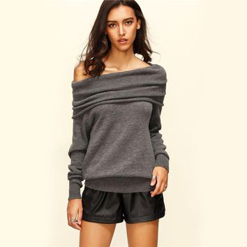 Convertible Cowl Neck Sweater Sexy Pullover Fall  Fashion Women Grey Off Shoulder